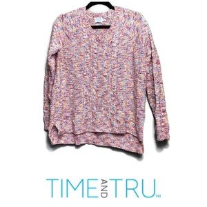 Time & Tru Multicolored Cable Knit V-neck Sweater